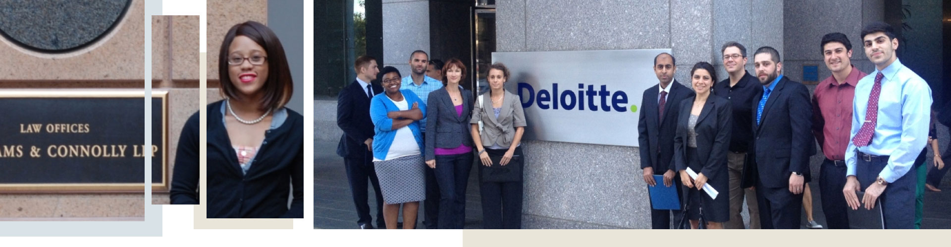 Students in front of law office and Deloitte office