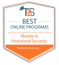 best online programs - Master in Homeland Security graphic from TBS company with a graduation hat