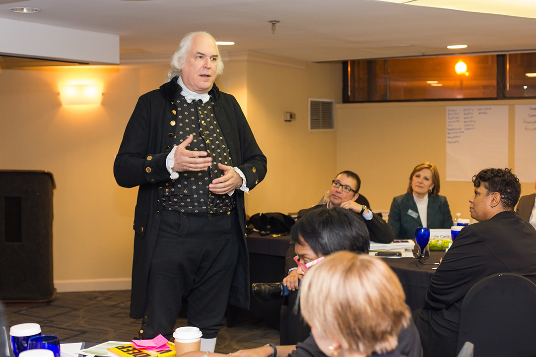 George Washington in costume visiting CEPL training class