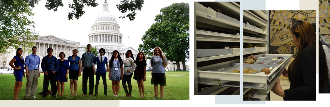 Group in front of the Capitol; woman looking at artifacts in a drawer
