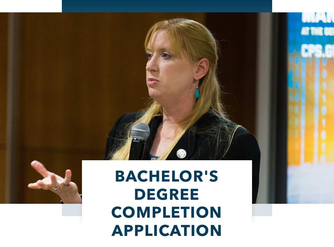Bachelor's Degree Completion Application, woman with long blonde hair and microphone