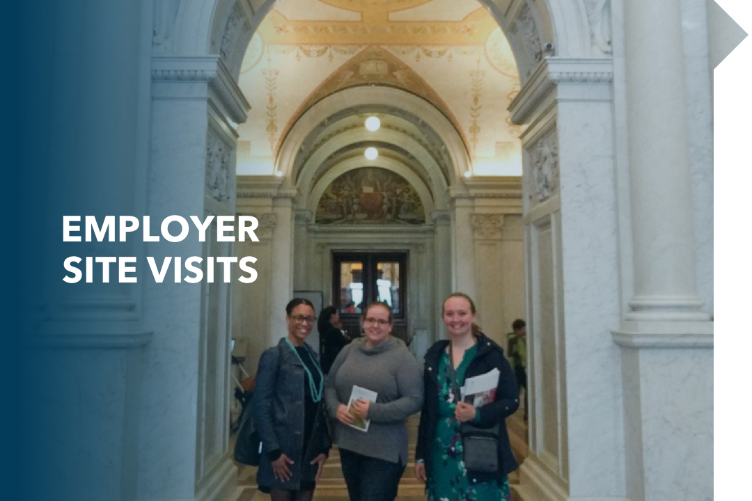 Employer Site Visits; 3 females in the halls of congress