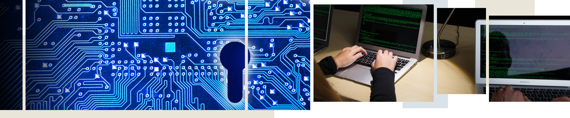 Cybersecurity grid; hands typing on a laptop; reflection on a screen