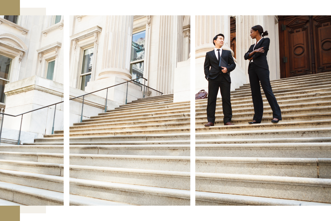 Lawyers on steps