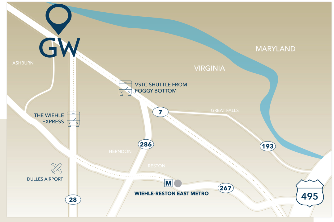 VSTC Campus map with major roads like 66, location in Virginia near Maryland, VSTC Express and Dulles Airport