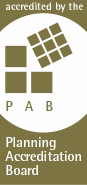 PAB logo with words accredited by the Planning Accreditation Board