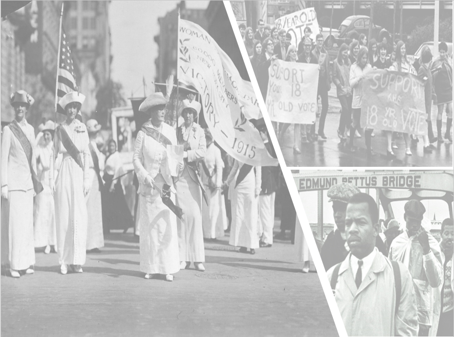 early voting activists including women with flags and african american men