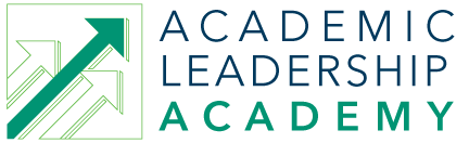 Academic Leadership Academy logo in green and white with 3 arrows pointing up in unision at an diagonal
