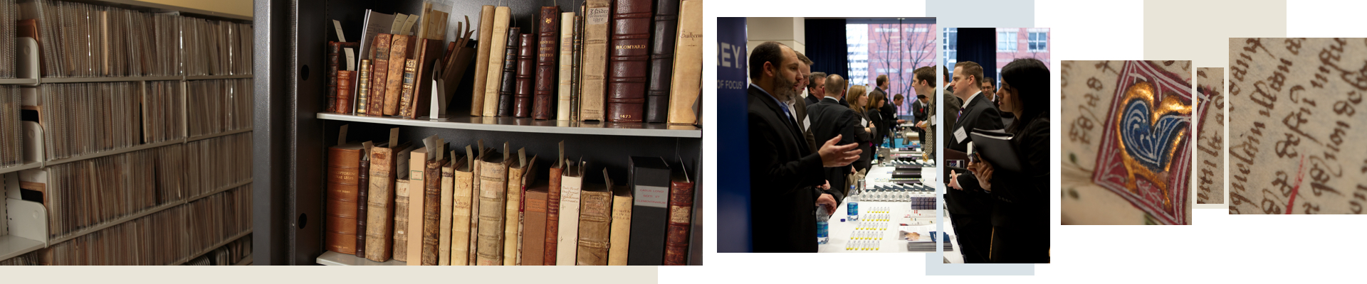 Books in a library, attendees at a networking event, an old, handwritten manuscript