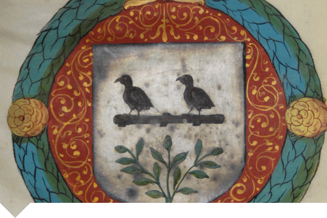 Law crest with two birds looking to the left