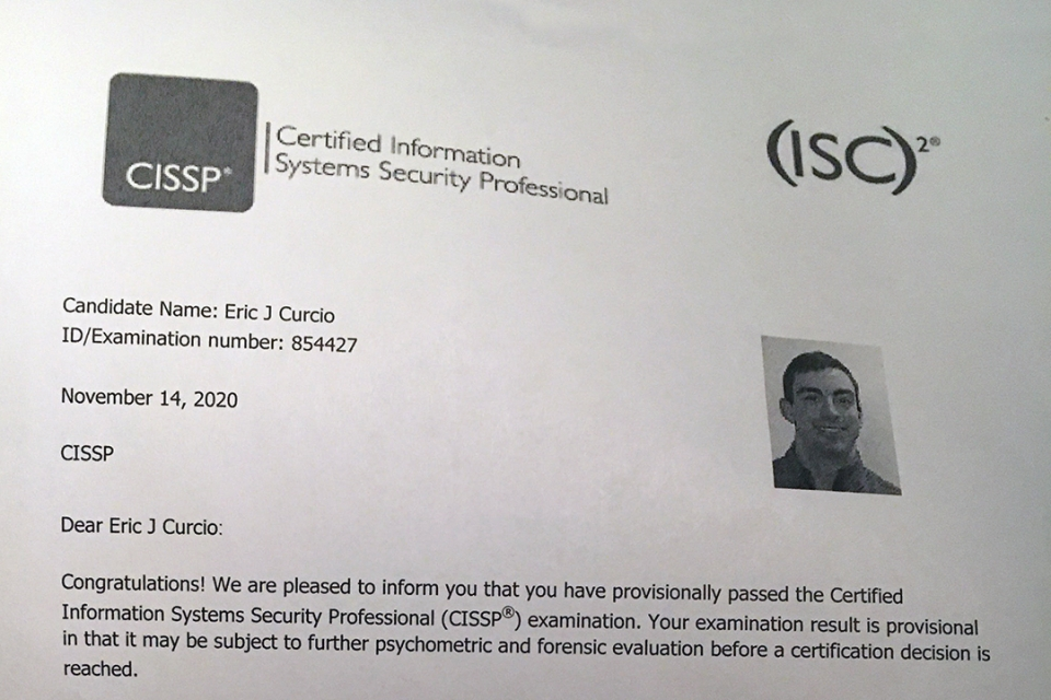Letter from ISC2 with CISSP exam results for Eric Cursio showing he passed