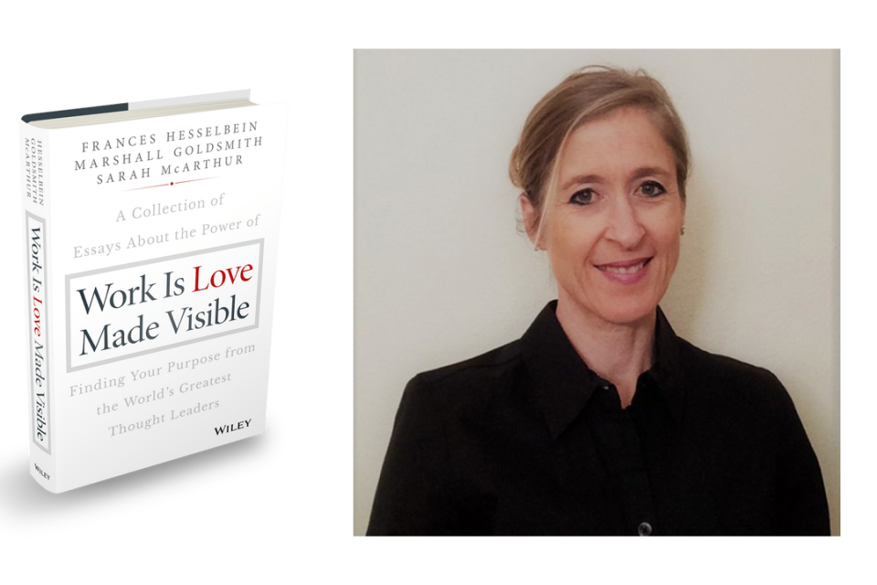 Book cover Work is Love Made Visible with co-author Sarah McArthur in black shirt