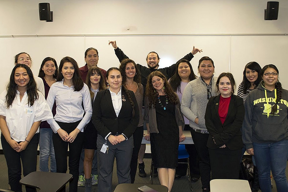 NAPLP students wtih Native laywer and playwright Mary Kathryn Nagle