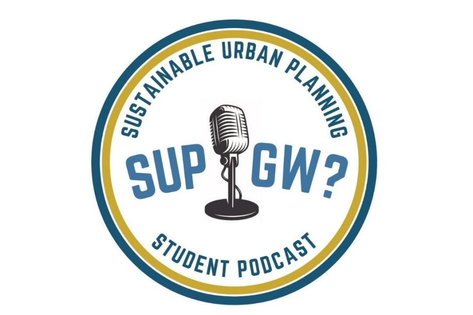 Sustainable Urban Planning, SUP GW? Student Podcast with image of a microphone