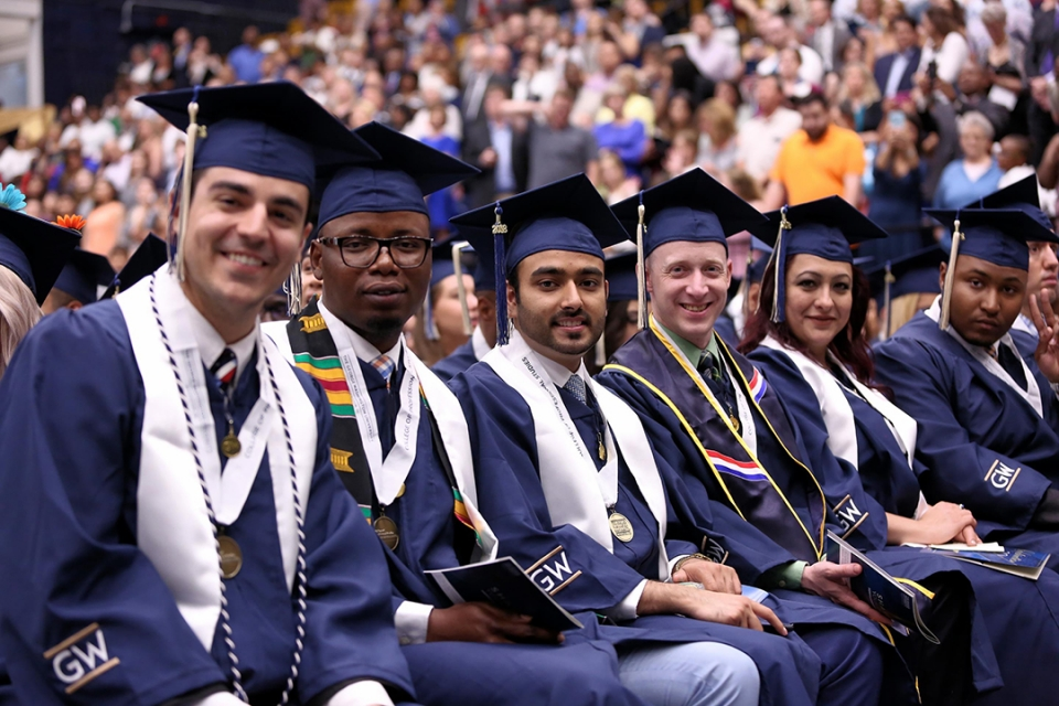 Students at Commencement in cap and gown