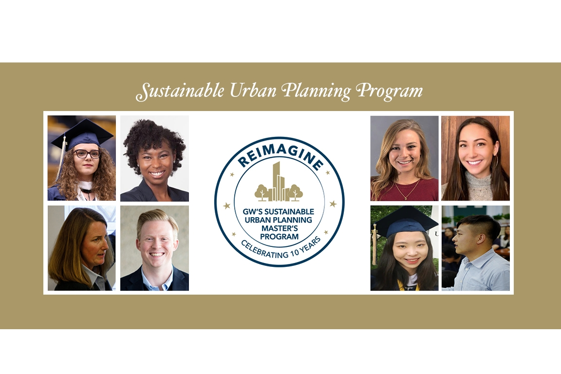 Sustainable Urban Planning Program Anniversary with photos of diverse students and 10th anniversary logo