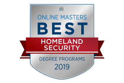 Graphic badge w/ red ribbon and words-Online Masters Best Homeland Security Degree Programs 2019 as rated by OnlineMasters.com