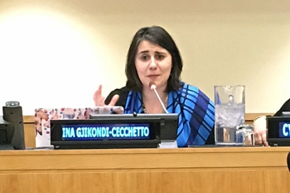 Ina Gjkondi, Director, Executive Education & Leadership Coaching Services, GW-CEPL, speaks at conference at the UN
