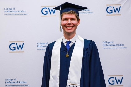 Cameron Peters at May 2018 Graduation. (GW/Drew Santorello)