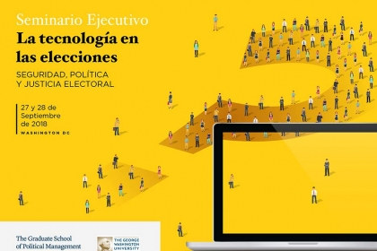 Graphic for the Executive Seminar - Technology in Elections (in Spanish)