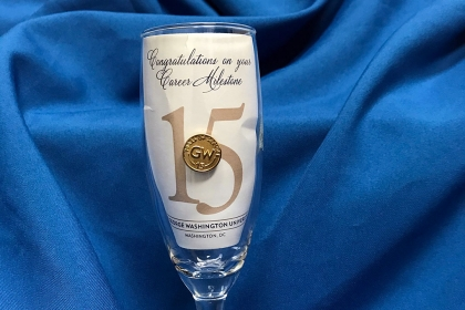 congratulations GW career milestone champagne glass and service pin