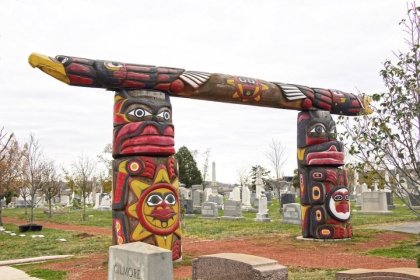 Liberty and Freedom Totem poles in Congressional Cemetery