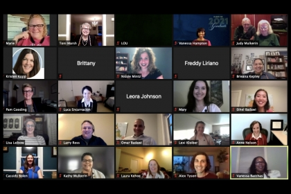 Virtual LEX Cermony with 25 people, mostly cameras on
