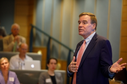 Senator Warner speaks about Cybersecurity issues at George Washington University