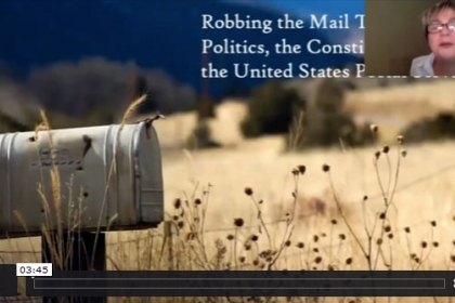 Paralegal Webinar Robbing the Mail train screenshot of the video with a mailbox and dried field of grass, female face top right