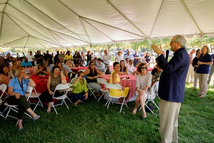 New GW President Thomas LeBlanc speaks to faculty and staff at the Proud to be GW Festival at VSTC (William Atkins)