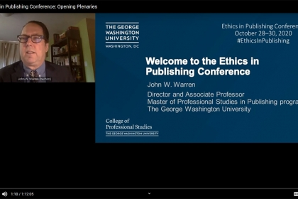 John Warren,digital platform with computer and slide, Welcome to the GW Ethics in Publishing Conference blue
