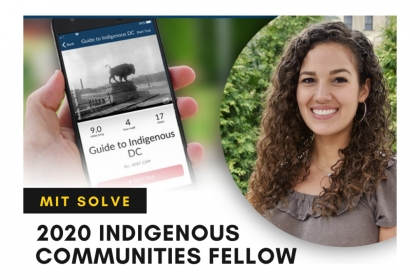 Elizabeth Rule 2020 Indigenous Communities Fellow MIT Solve with image of an App open on a cell phone