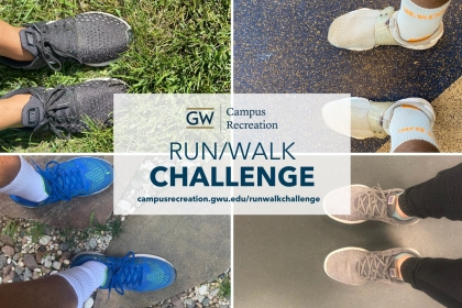 GW Campus Recreation Run Walk Challenges with picture of legs and sneakers