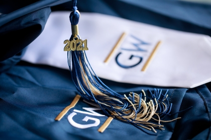 GW logo with embroidered blue, buff material and 2021 tassle