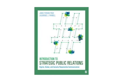 book cover in green and blue with introduction to strategic public realtions on it